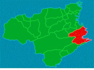 徳島県における阿南市の位置